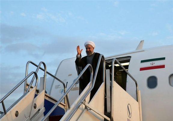 حسن روحانی وارد شهر آکتائو قزاقستان شد