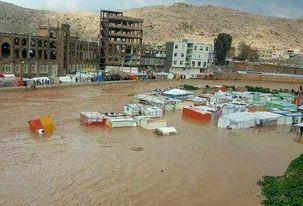 کانکسهای مردم زلزلهزده سرپل ذهاب در سیل فرو رفت/ انتقال مردم به مکانها امن و دور از رودخانه