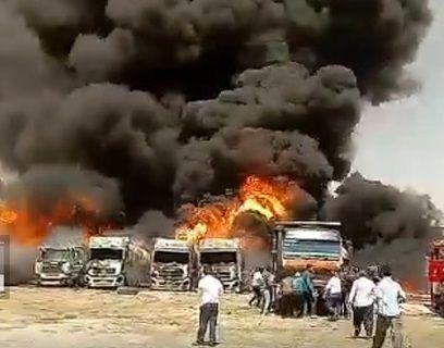 آتشسوزی مهیب در شهرک دولت آباد کرمانشاه + فیلم