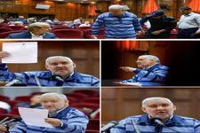 تصویر ابوالفضل میرعلی متهم ردیف اول مؤسسه ثامن الحجج با لباس زندان در دادگاه