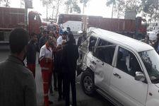 تصاویری از تصادف خودروی حامل رئیس سازمان تأمین اجتماعی و معاونش + تصاویر