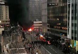 لحظه آتش گرفتن یک  ایستگاه قطار در فرانسه+ فیلم