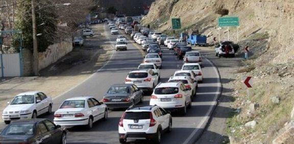 ترافیک سنگین در برخی محورهای شمال کشور بر اثر بارش باران