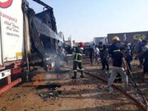 آتشسوزی گسترده در پایانه تجاری زرباطیه عراق