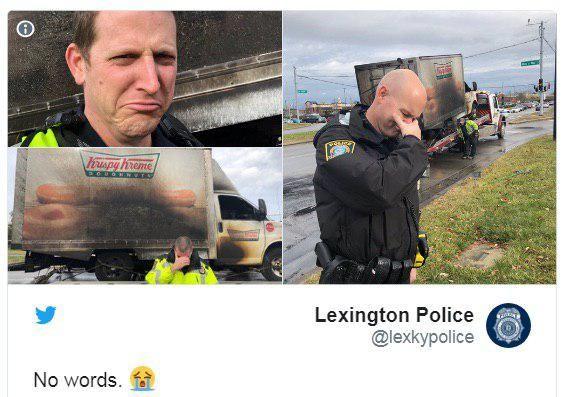 عزاداری پلیس آمریکا به دلیل آتش گرفتن یک کامیون دونات  + تصاویر