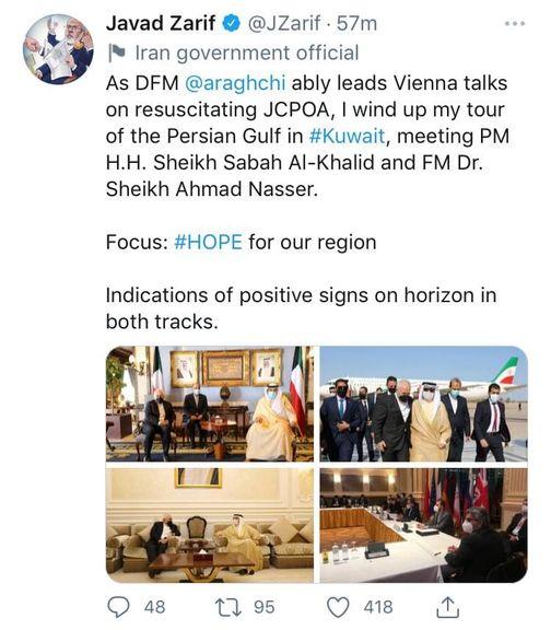 توییت و روایت ظریف از «نشانههای مثبت» در مذاکرات وین و منطقهای