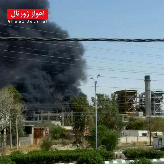 فیلم از آتش سوزی در نیروگاه شهید مدحج زرگان اهواز