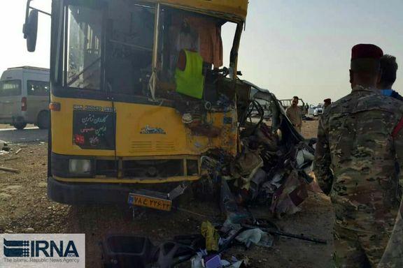 تصادف مرگبار در مرز عراق / تصادف اتوبوس با دو دستگاه ون در نزدیکی کوت عراق  11 نفر را به کام مرگ کشاند و 19  نفر را مصدوم کرد