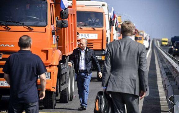 ولادیمیر پوتین روی پل کریمه با کامیون رانندگی کرد و آن را افتتاح کرد + تصاویر
