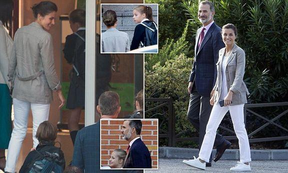 پادشاه اسپانیا بچه های خود را با ماشین شخصی به مدرسه برد