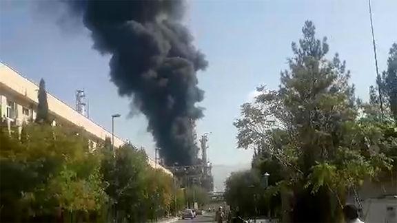 آتش سوزی در واحد الفین پتروشیمی ایلام