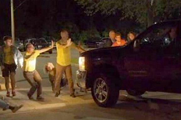 حمله به معترضان آمریکایی با خودرو