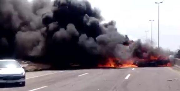وضعیت مصدومان تصادف اتوبوس با چهار دستگاه خودرو در اتوبان تهران - ساوه