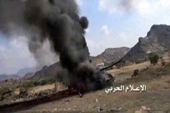 ارتش یمن تانک مزدوران وابسته به آل سعود را منهدم کردند