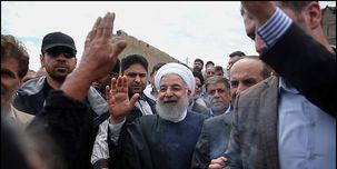 روحانی از از مناطق سیلزده شهر اهواز  بازدید کرد